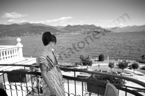 Bride looking out the terrace in Lago Maggiore