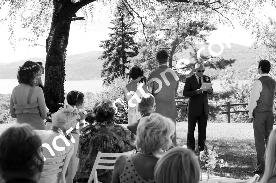 Ceremony by Lago Maggiore in black and white