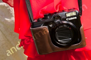 Wedding canon camera in leather holster