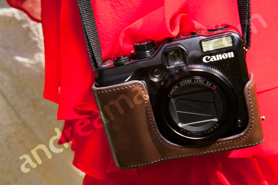 Photographer's canon camera in leather holster