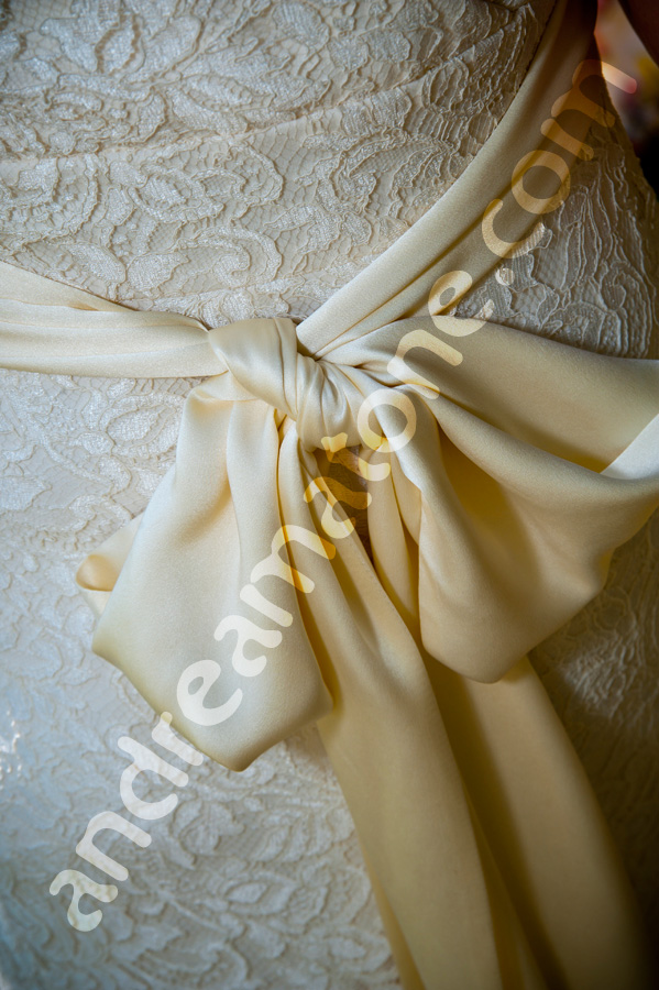 Bride's wedding dress back ribbon