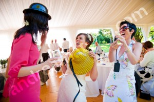 Guests having a good time together at a wedding