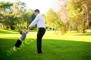 Wedding guests playing with children