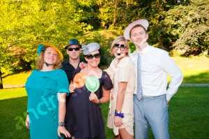 Guests photographed in funny portrait at a wedding