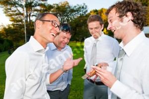 Outdoor conversation in Italy during a wedding