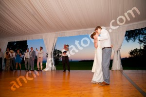 Newlywed couple at their first wedding dance