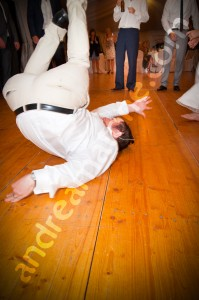 breakdancing at a wedding party