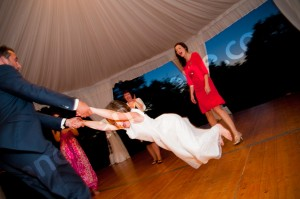 World go round dancing at the wedding party