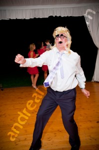 Father dancing at the wedding party in Italy