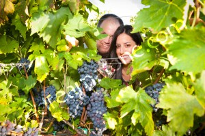 Couple looking through the grapevine in Tuscany