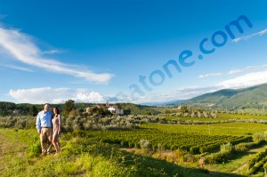Couple posing for portrait in the Tuscan countryside