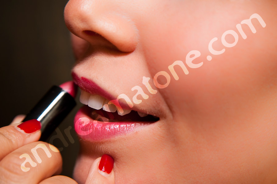 Make up red lipstick close up