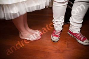 The bride barefoot during wedding preparation