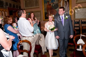 Bride and Groom make entrace in the Sala Rossa Tivoli Town Hall Italy