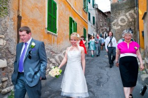 Walking arounf the town of Tivoli Italy with the wedding party guests