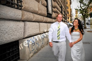 wedding couple walking around rome italy