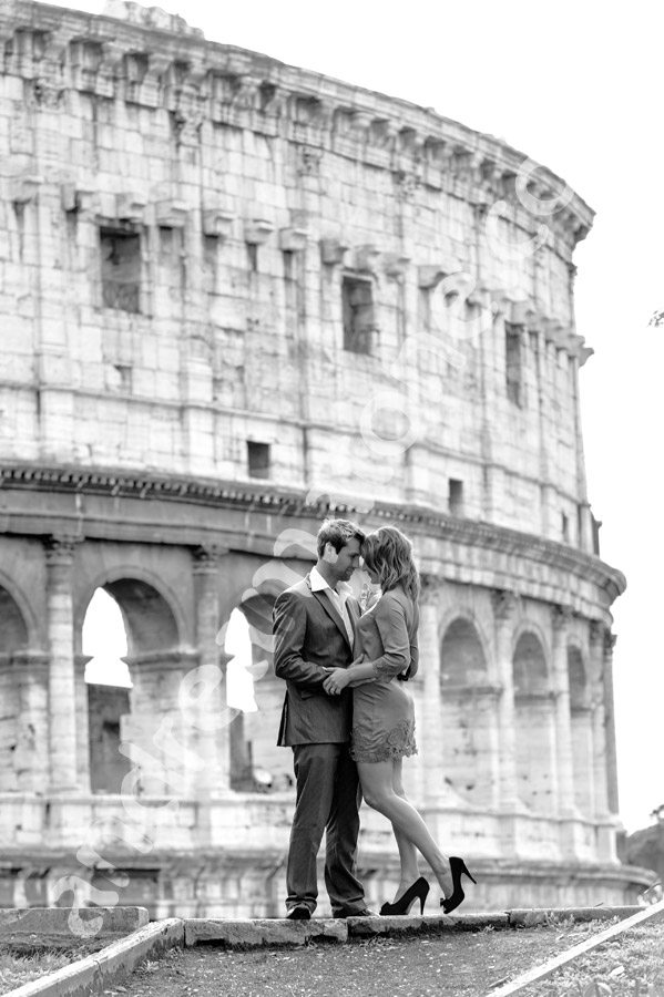 Romance at the Roman Coliseum in Rome Italy.