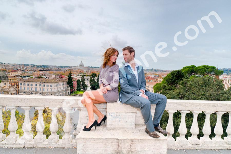Engagement pictures taken at Parco del Pincio