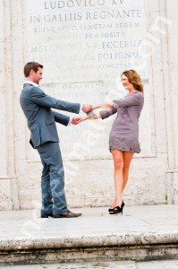 Couple dancing at Spanish steps in Rome Italy