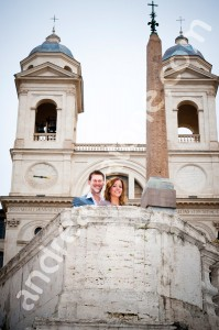 Engaged couple at Piazza di Spagna in Rome Italy