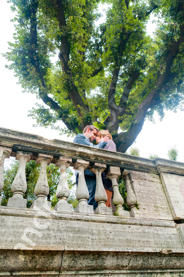 Together at Pincio Park. Rome engagement photography.