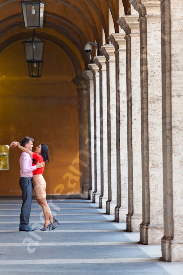 Romance in Rome at Saint Ivo alla Sapienza with a beautiful couple in love