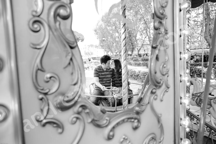 Black and white image on a carousel near Castle Saint Angel