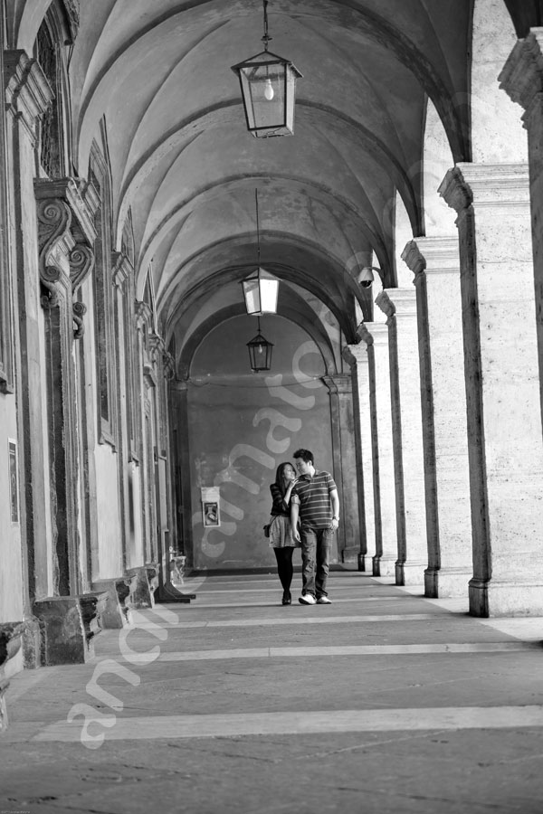 Walking under the beautiful portico in S. Ivo alla Sapienza