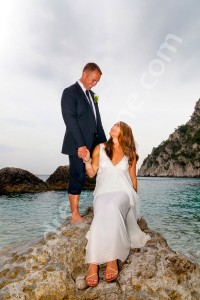 Couple photographed on the island of Capri during a wedding photo shoot