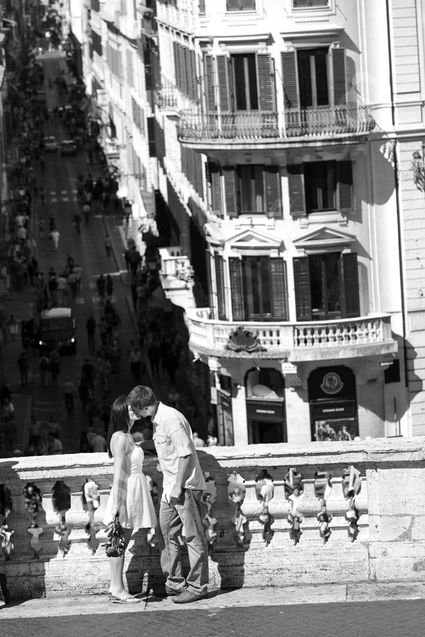 Black and white photography on Piazza di Spagna in Roma