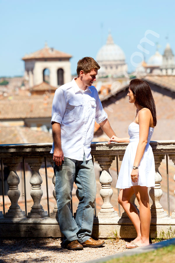 Romantic scenery in Piazza del Campidoglio overlooking the ancient rooftops