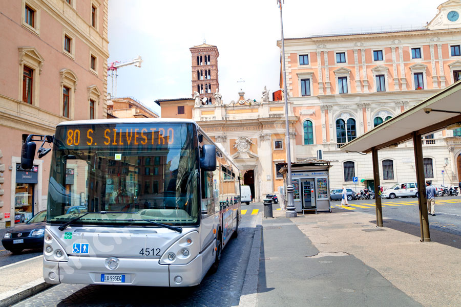Bus stop Piazza S. Silvestro. Public transport system.
