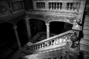 Black and whit photograph of inside Church San Silvestro in Capite the stairs leading down