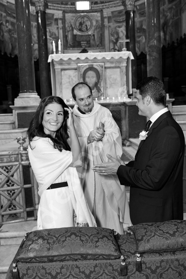 Matrimonial ceremony in Church Saint Mary in trastevere