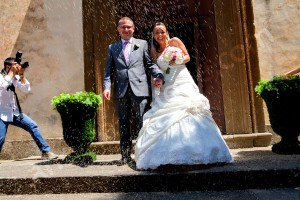 The throwing of the rice outside Church Frati dei Capuccini in Frascati