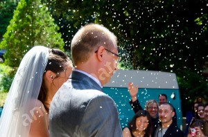 The throwing of the rice as the newlyweds exit church