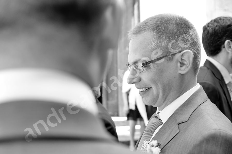 The groom photographed in black and white