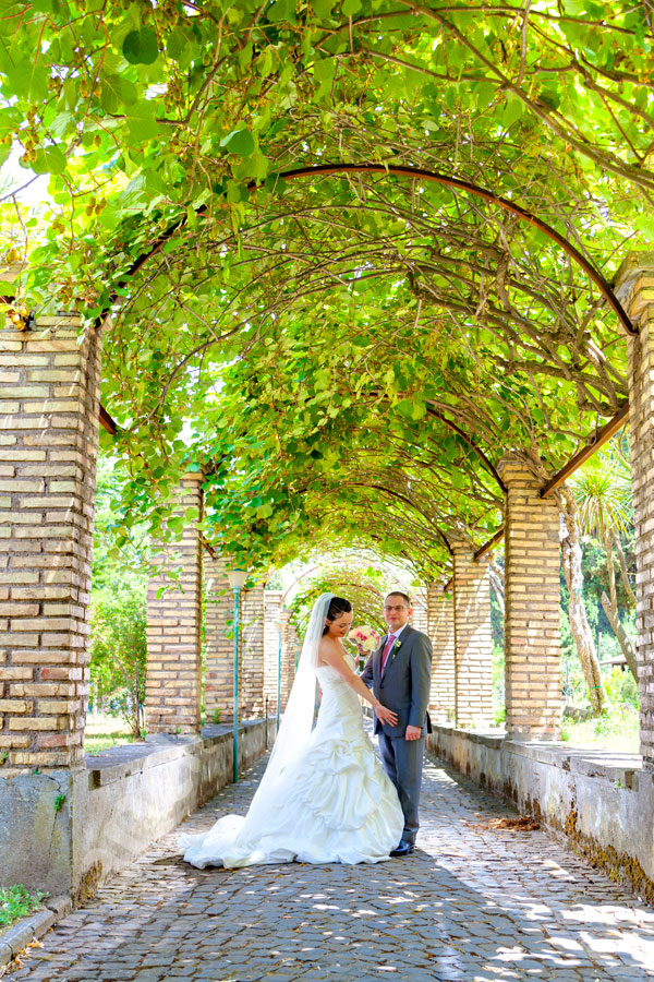 The newlyweds inside the courtyard of the Cappuccini Friar Convent