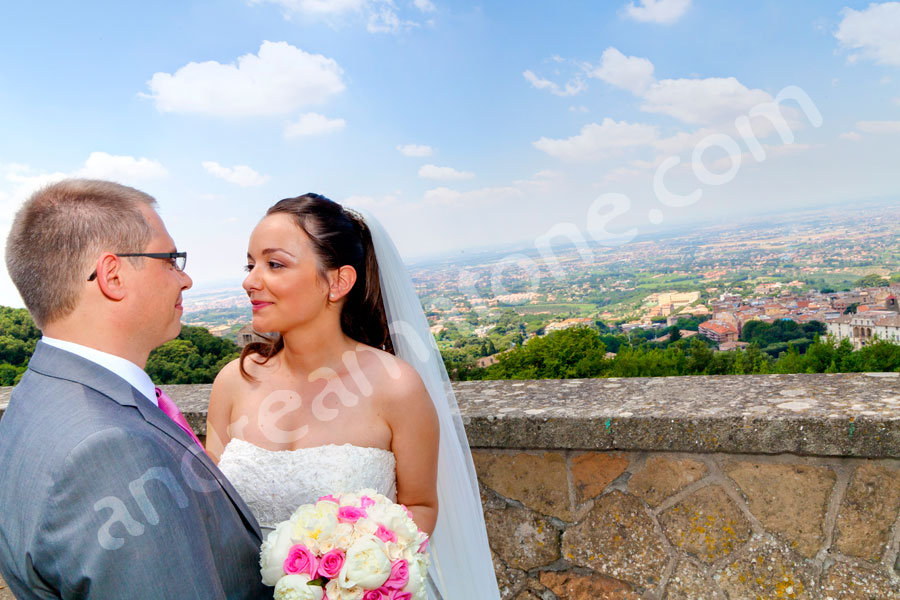 Overlooking the view of the Castelli Romani area from Convento Frati dei Capuccini in Frascati Italy