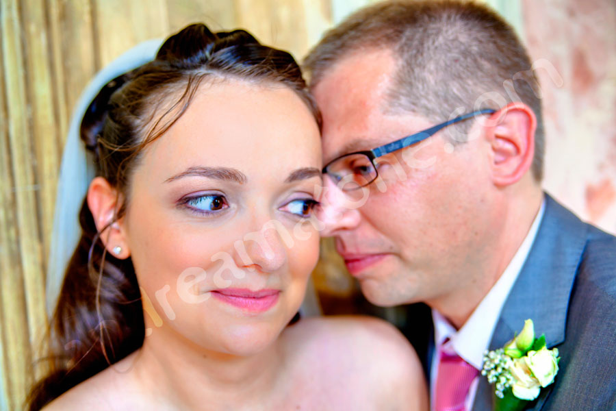 Portrait picture of the bride together with the groom