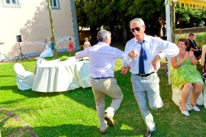 Wedding guests having a good time and dancing
