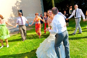 Celebrating and dancing after the wedding