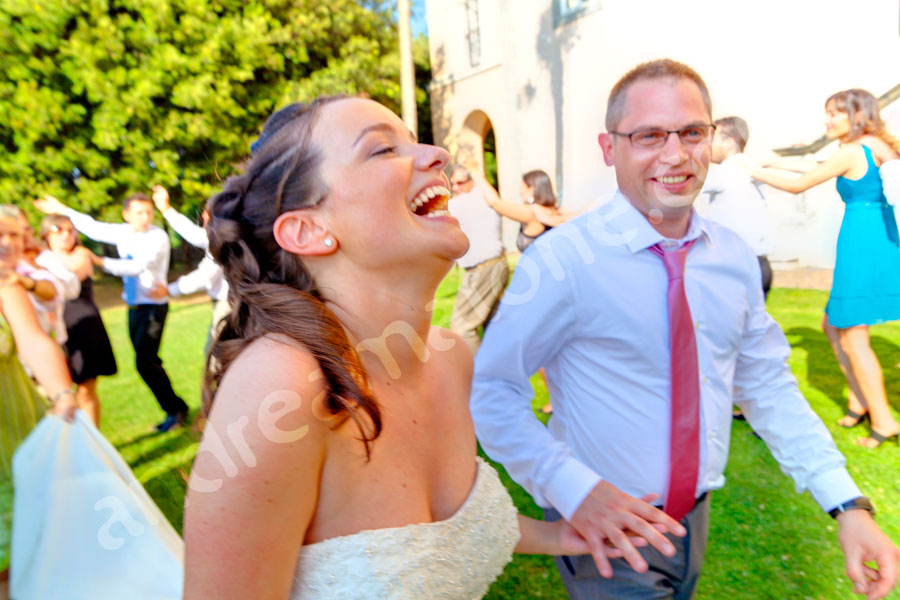The happiness of the bride and groom