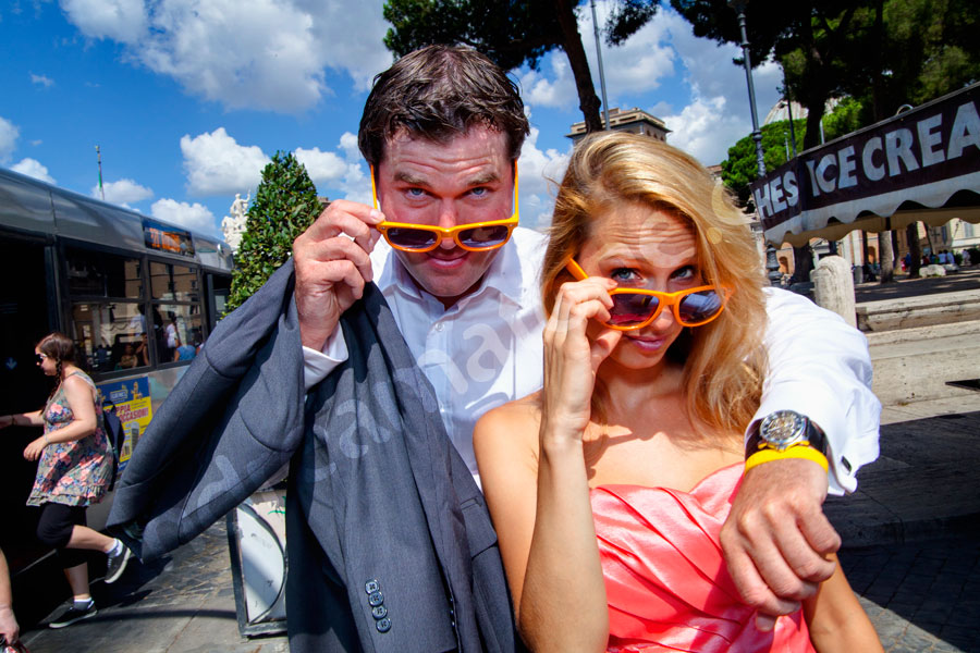 Bright colorful sunglasses wore in the streets during a photographer session