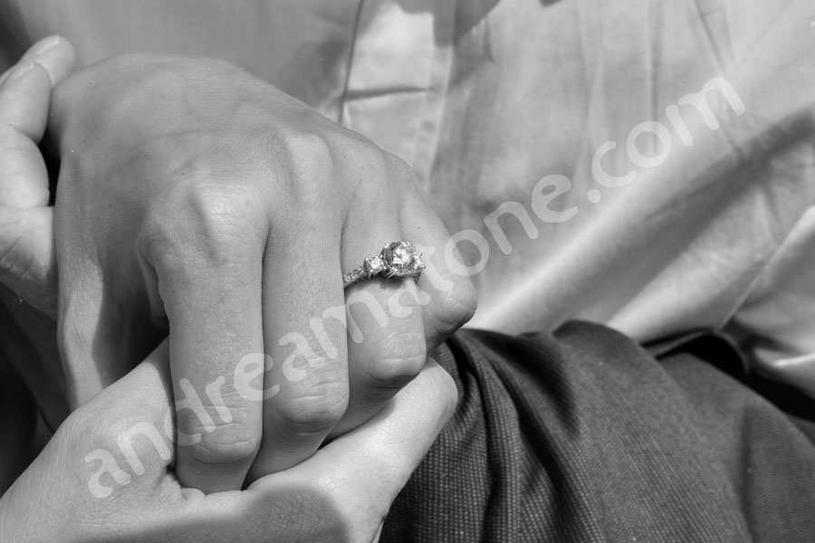 The engagement ring photographed in black and white