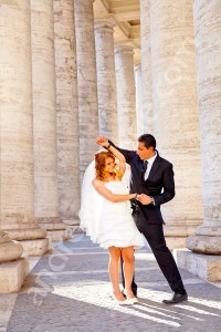 Dancing under the columns of Saint Peter's square in the Vatican