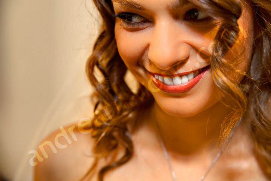 Woman face close-up smiling