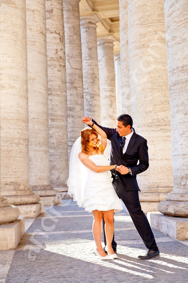 Dancing at the Vatican. Under the columns of Saint Peter's.