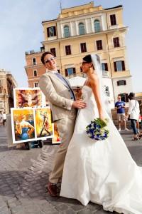 Bride and groom together on Piazza Trinita' dei Monti in Rome