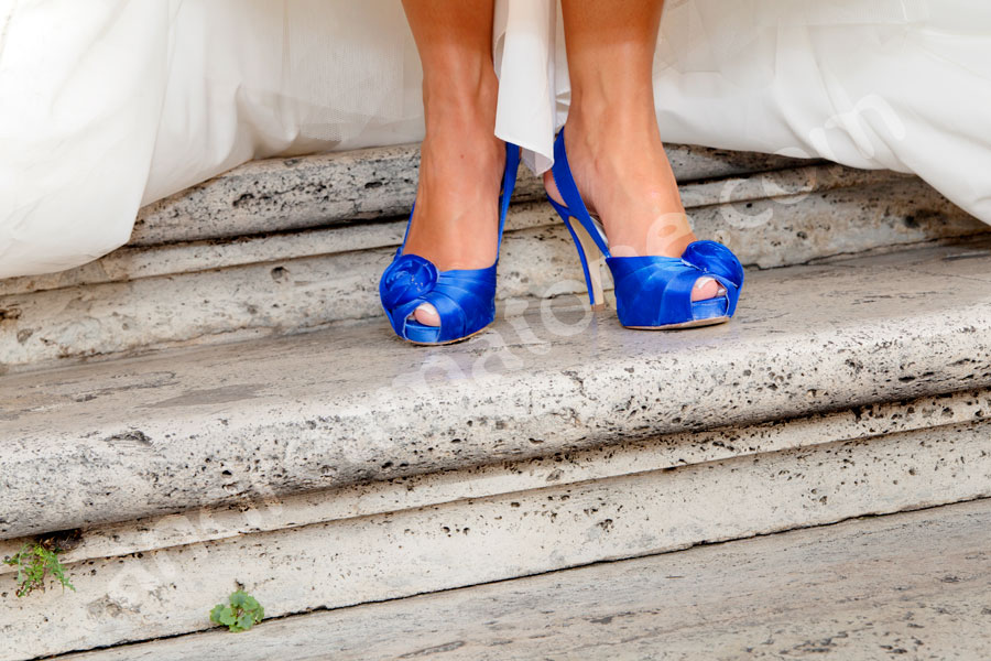 The bride's shoes are blue